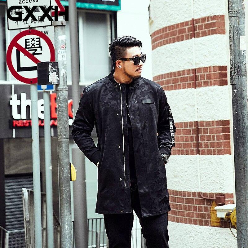 GXXH grande taille 7XL 6XL hommes veste manteau nouveau automne hiver noir Camouflage veste manteau homme Long pardessus décontracté coupe vent-in Vestes from Vêtements homme    1