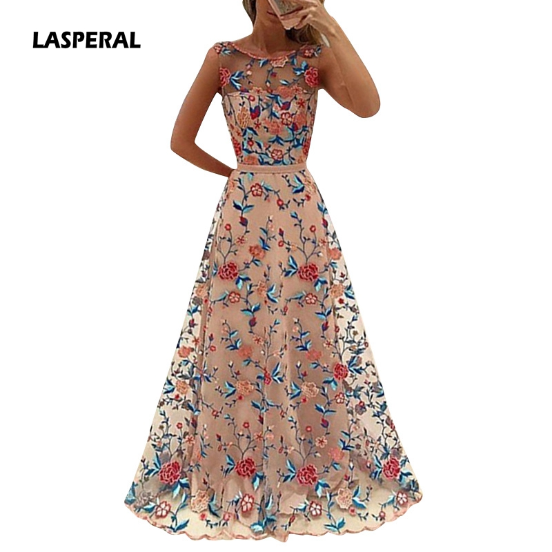 Lasperal floral embroidery long maxi dress party