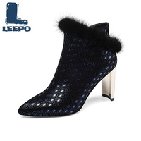 LEEPO Women Ankle Boots Genuine Leather Booties Women Red Polka Dot Pointed Toe High Heels Shoes Woman Blue Boots Ladies Shoes