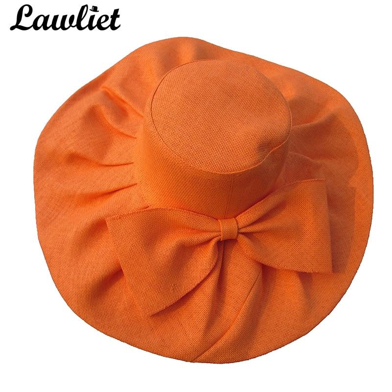 Huge Linen Sun Hat Women Kentucky Derby Wide Brim Sun Hat Wedding Church Beach  Hats for Women Floppy Ladies Hat Bow Detail A047-in Sun Hats from Apparel  ... bc2d8e21cab2