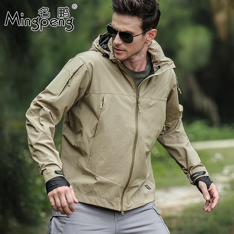 Waterproof Tactical Soft Shell Army Jacket Men Windbreaker Hooded Coat Spring Autumn Casual Military Jackets Cool Outwear-in Jackets from Men's Clothing    2