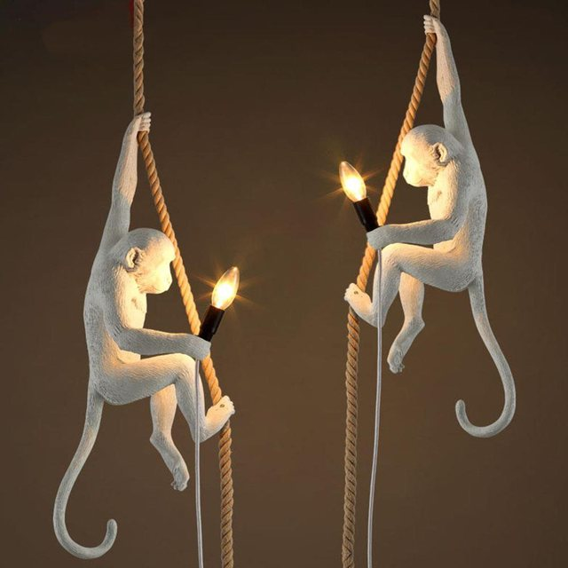Amazing Monkey Lamp Light Resin Hanging Rope Cord Lamps Pendant Pending Lighting  Retro Ceiling Hotel Luxury Vintage
