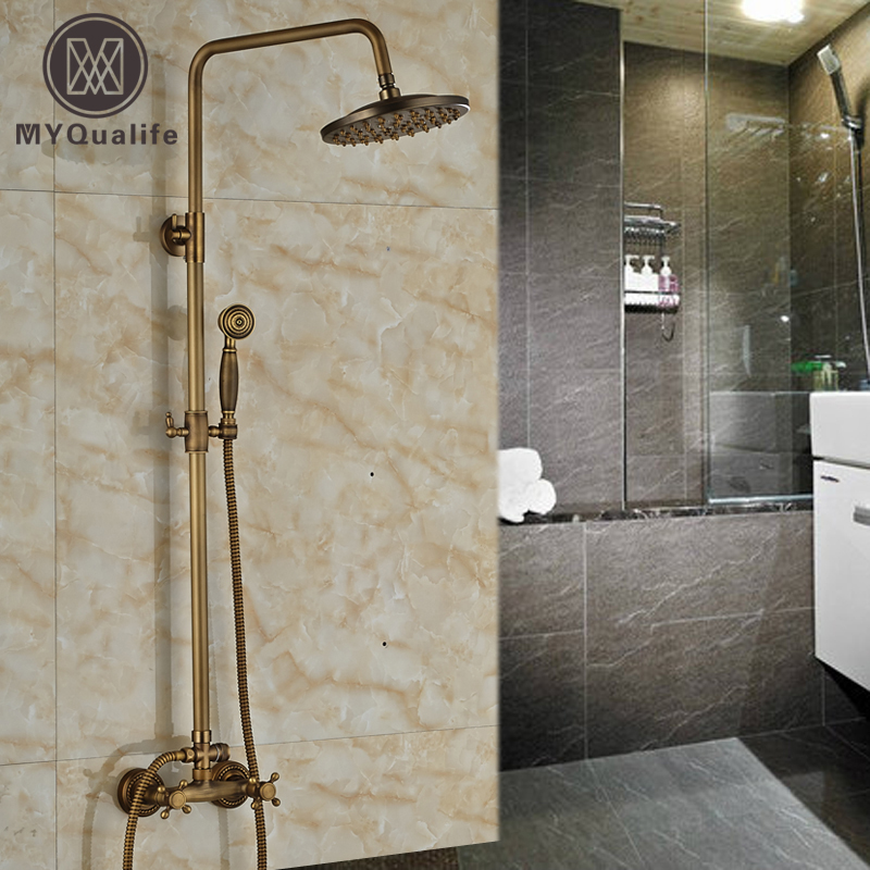 Antique Brass 8 Rain Bathroom Shower Faucet System Dual Handles with Brass HandshowerAntique Brass 8 Rain Bathroom Shower Faucet System Dual Handles with Brass Handshower