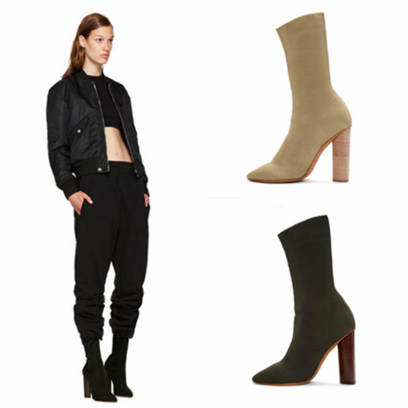 Fashion Kardashian Ankle Elastic Sock Boots Chunky High Heels Stretch Women Autumn Sexy Booties Pointed Toe Women Pumps Botas fashion kardashian ankle elastic sock boots chunky high heels stretch women autumn sexy booties pointed toe women pumps botas
