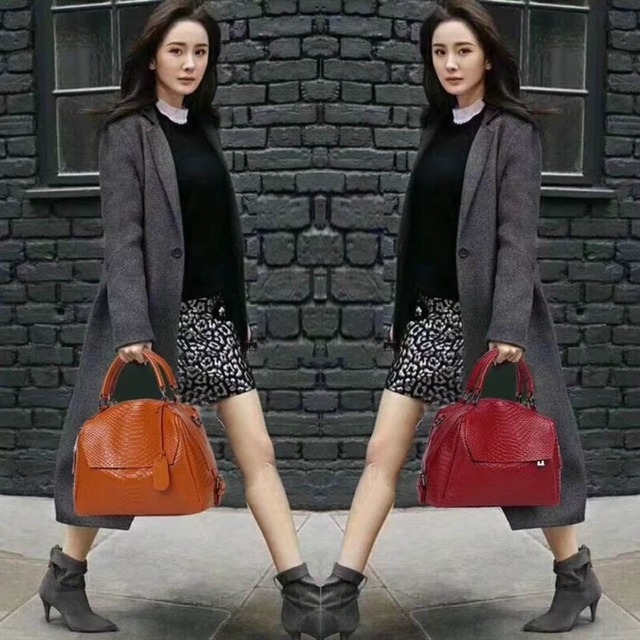 Nuleez genuine leather cowhide serpentine tote bag fashion large capacity for office lady 2018