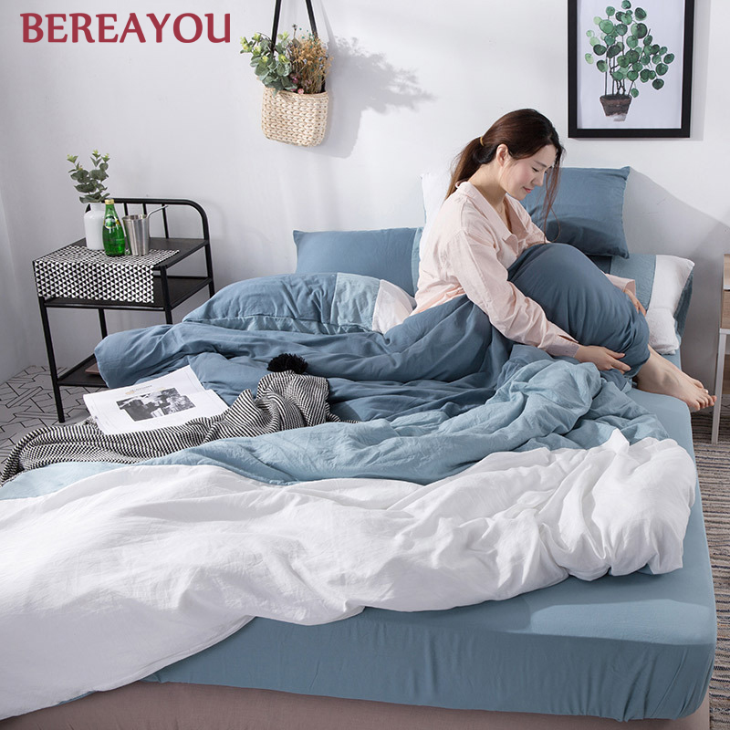 Japanese Bedding Sets Polyester Solid Color Bed Sheet Pillowcase Twin Full Queen Size Washed Cotton Bedding Set jogo de cama in Bedding Sets from Home Garden