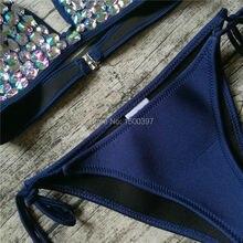 2018 Pink/Orange/Yellow/Green/Dark Blue Deep V Rhinestones Neoprene Swimsuit Diamond Bikini bandeau Triangle Brazilian Swimwear