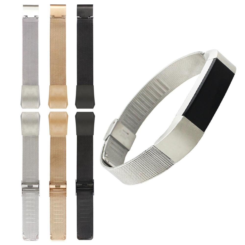 Prix pour Nouvelle Arrivée 3 Couleurs Véritable Maille En Acier Inoxydable Bracelet Montre de Courroie De Bande Pour Fitbit Alta Tracker Bracelet de Haute Qualité