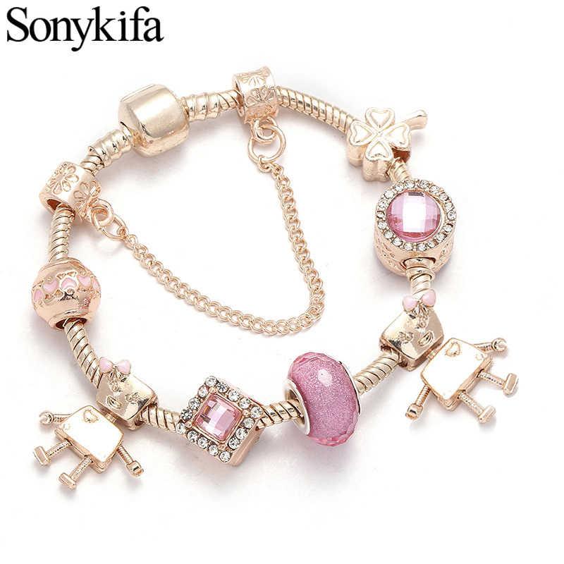 Sonykifa dropshipping artesanal diy bonito robô charme pulseiras para as mulheres contas de vidro murano caber pandoro pulseira jóias presentes