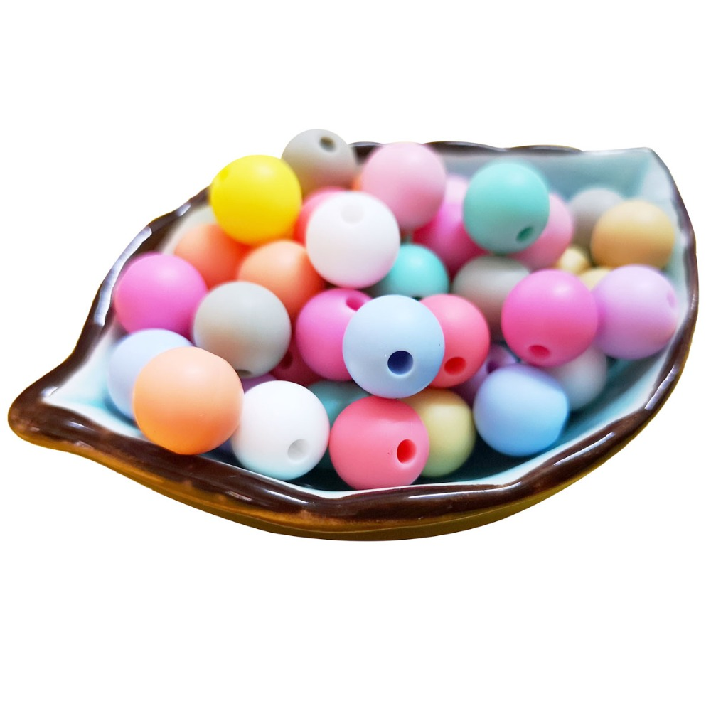 500pcs Silicone Beads Round 12mm Baby Chewable Teether Pacifier Clips Bead Food Grade Silicone BPA FREE
