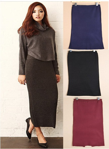 Winter Thick Black Warm Long Knitted Skirt Fashion Lady Slim Split ...