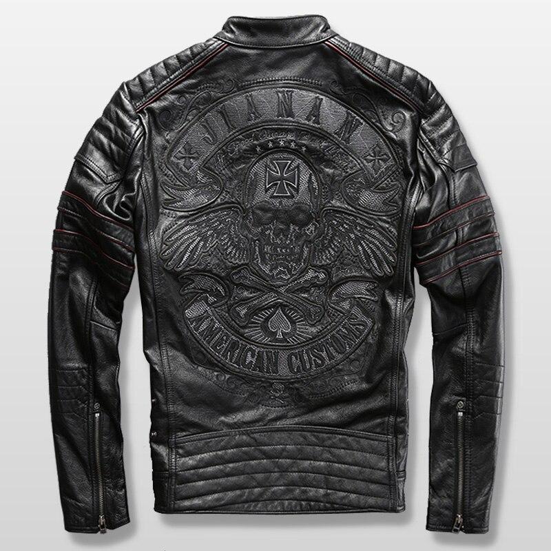 ¡Lea la descripción! Tamaño asiático de la motocicleta chaqueta de piloto para el hombre de chaqueta de cuero genuino de piel de vaca de bordado cráneo chaqueta de cuero