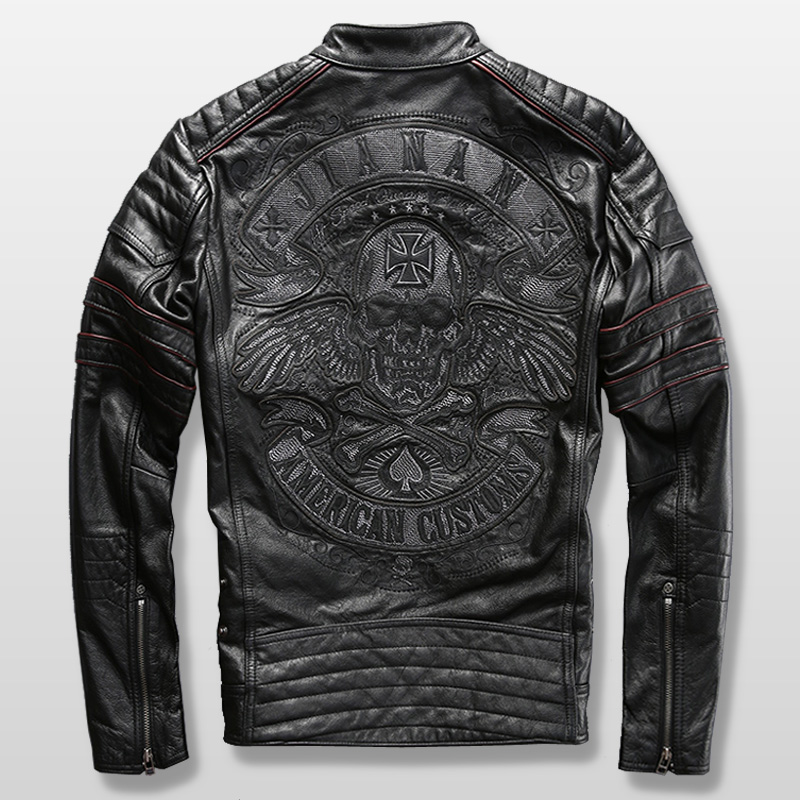 harley motorcycle rider jacket mens leather jacket man's genuine cowhide embroidery skull leather jacket slim