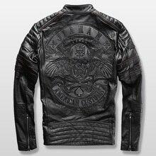 Harley moto rider veste hommes veste en cuir homme de véritable peau de vache broderie crâne veste en cuir mince