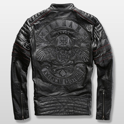 harley motorcycle rider jacket mens leather jacket man's genuine cowhide embroidery skull leather jacket slim
