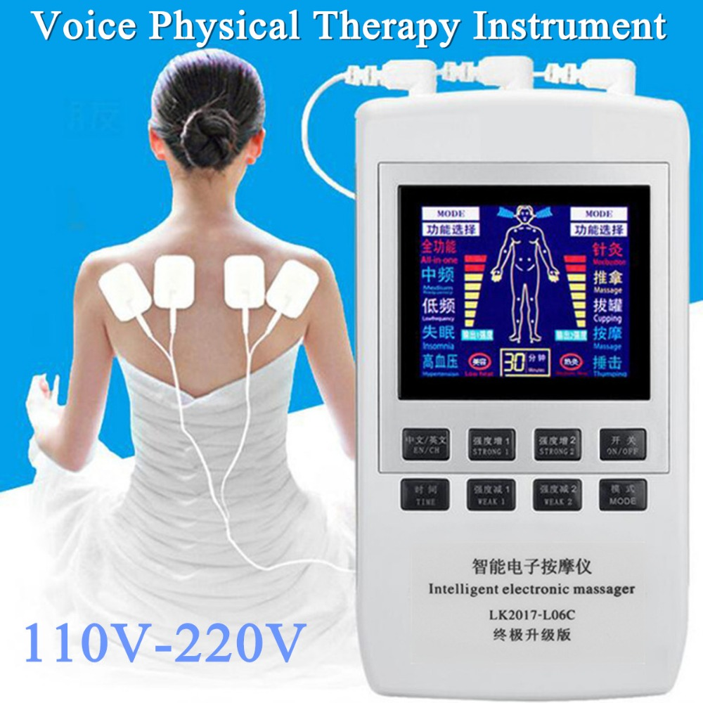 TENS EMS Pain Relief Electrical Massager Medical Physiotherapy Muscle Simulator Dual Channel Heating Digital Therapy Massager 2017 hot sale mini electric massager digital pulse therapy muscle full body massager silver