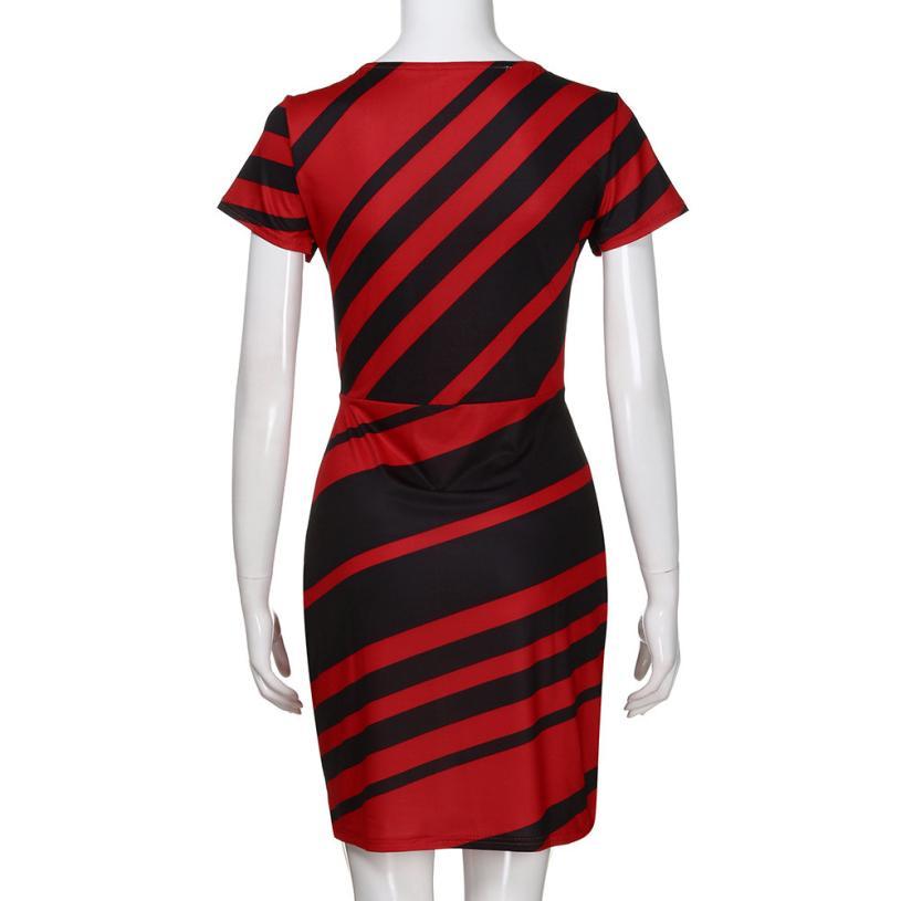 HTB1553AgQ7mBKNjSZFyq6zydFXa1 KANCOOLD dress Summer fashion Women's Working Pencil Stripe Party Casual O-Neck Mini high quality dress women 2018MA27