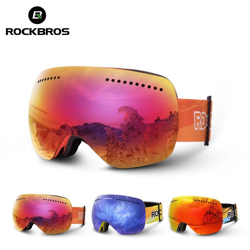 ROCKBROS Lunettes de Ski Snowboard Anti-Brouillard Coupe-Vent Neige Lunettes Motoneige Masque Myope Ski Hommes lunettes pour femmes lunettes de neige