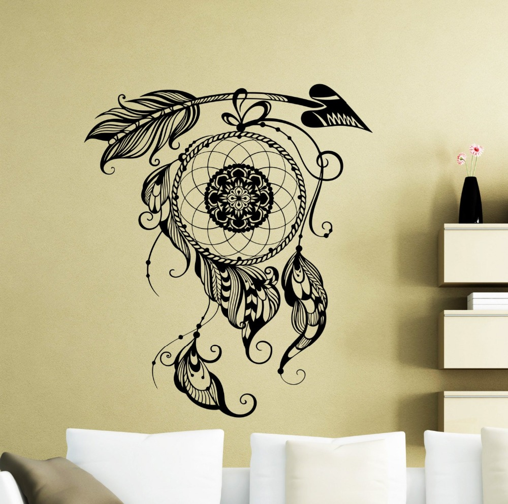 Dream Catcher Wall Decal Amulet Feather Vinyl Sticker Decor for Bedroom Nature Poster Decals AY0197