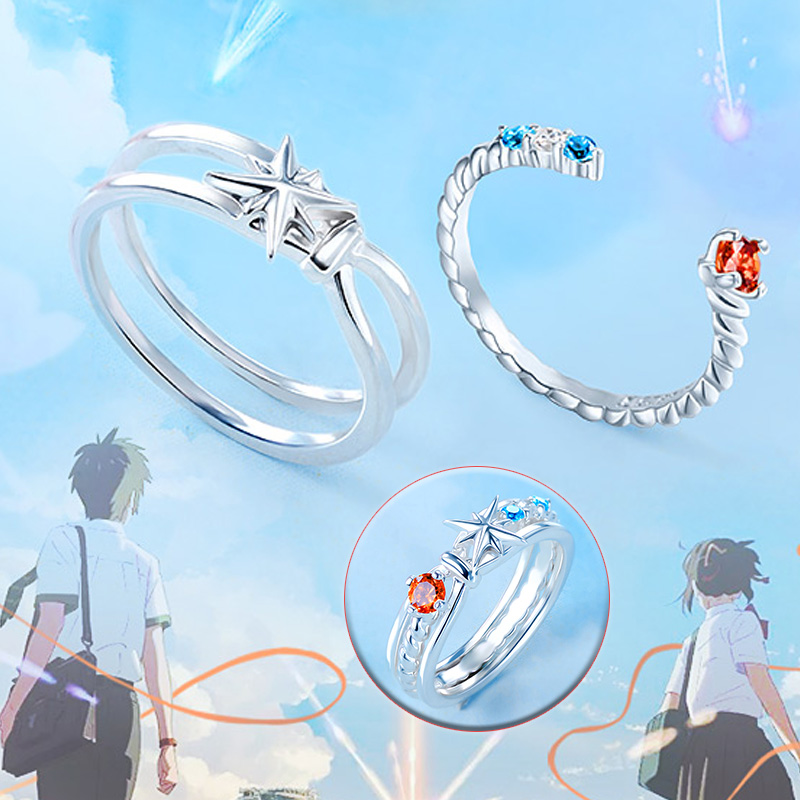 Your Name Kimi No Na Wa Anime Comet Double Ring Sterling Silver 925 Cubic Zirconia Makoto Shinkai Mitsuha Taki no name анис