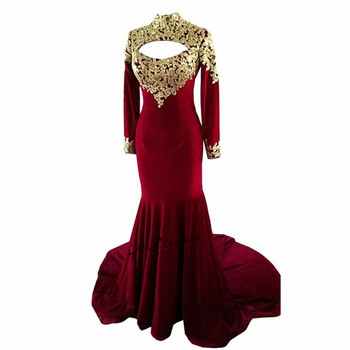 Sexy Backless Burgundy Gold Lace Muslim Evening Dresses Long Sleeve Abiye Gece Elbisesi Mermaid African Prom Party Dress Courte
