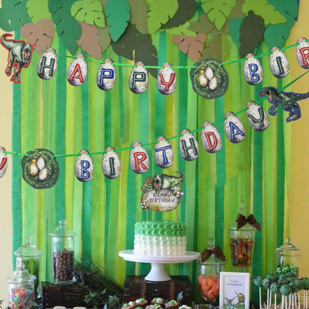 Jurassic Park Dinosaur Theme Birthday Party Decorations Happy Banner Cake Topper Cupcake Kit Hanging