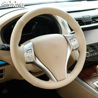 Shining wheat Beige Genuine leather Steering Wheel Cover for Nissan 2013 Teana 2014 X Trail QASHQAI Sentra
