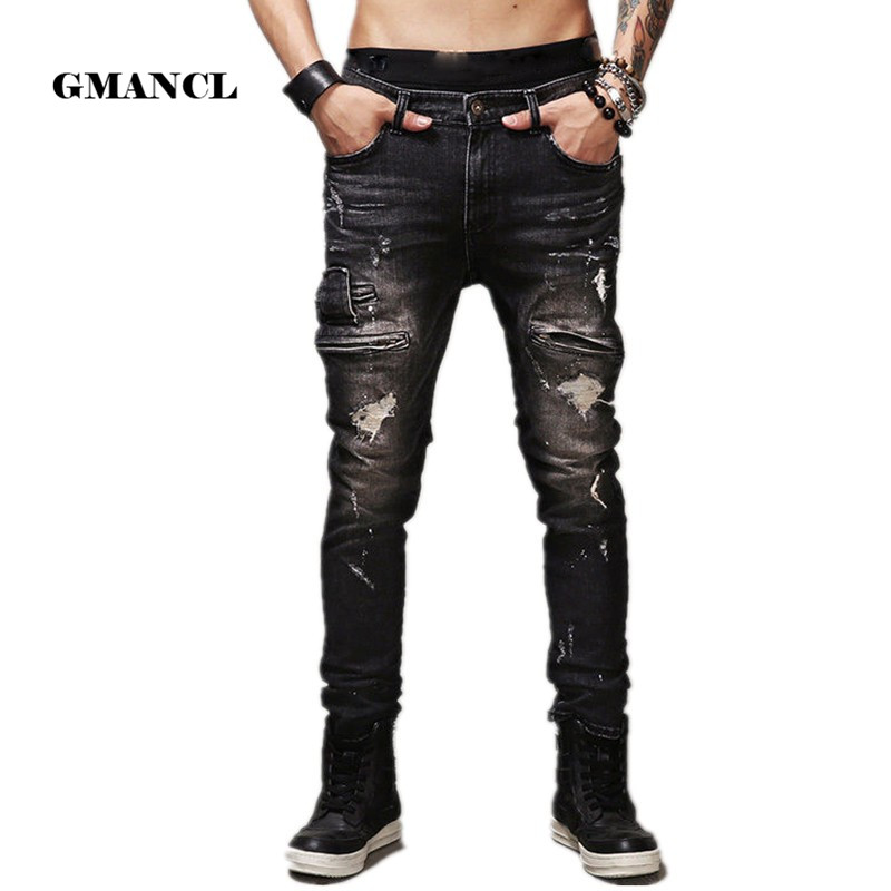 High Quality Mens Ripped Biker   Jeans   100% Cotton Black skinny Slim Motorcycle   Jeans   Men Vintage Hole Denim Joggers Pants Q1566