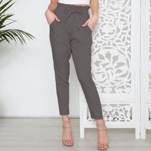 2019 Fashion High Waist Elastic Casual Clothing Women Solid Color Belted Ninth Pants Slim Fit OL Office Trousers Pencil Pants
