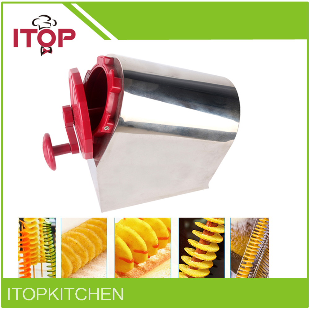 ITOP Vegetable Cutter Rotate Tornado Potato Slicer Stainless Steel Spiral Carrot Slicing DIY Manual Creative Machine stainless steel abs diy cookie cutter silver