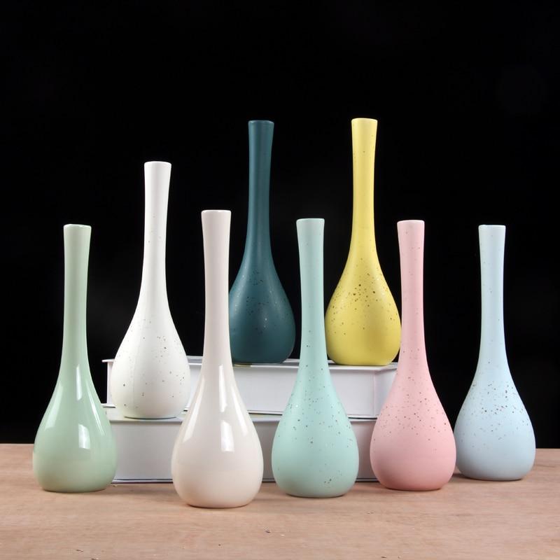 Creative Ceramic Flower Vase Home Decoration Small Ceramic Vases Wedding Home Decoration Tabletop Handmade Vase Green Plant Vase in Vases from Home Garden