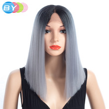 BY Hair 8 Colors Choice T1B Grey Cosplay Bobo Wig Synthetic Straight Hair Lace Front And T Part Wig 16 Inch Wigs For Women(China)