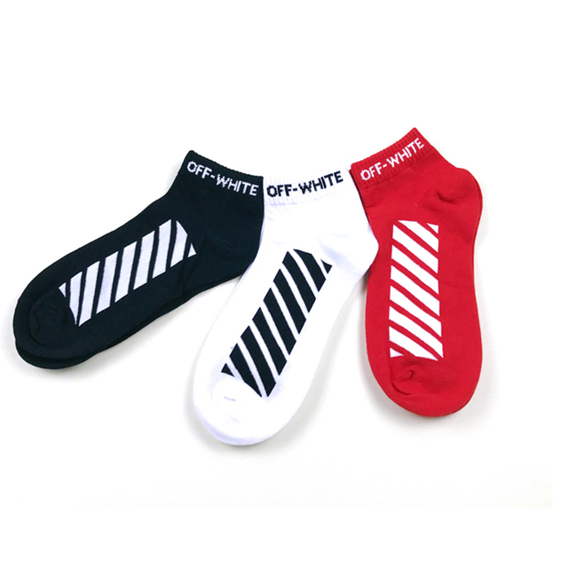 New Tide High Quality Ankle Socks Men Fashion Street Style Hip Hop Cotton Socks Short Casual Diagonal Stripes Socks Men
