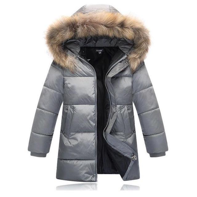 Inverno 2016 Outwear Parka Para Baixo Casacos Para Crianças Meninos Novo Design de Moda Gola De Pele Com Capuz Quente Jaqueta Casual de Algodão Acolchoado roupas