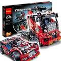 608 pcs 3360 2em1 técnica edição limitada conjunto caminhão de corrida modelo de blocos de construção tijolos boys toys compatível com lego