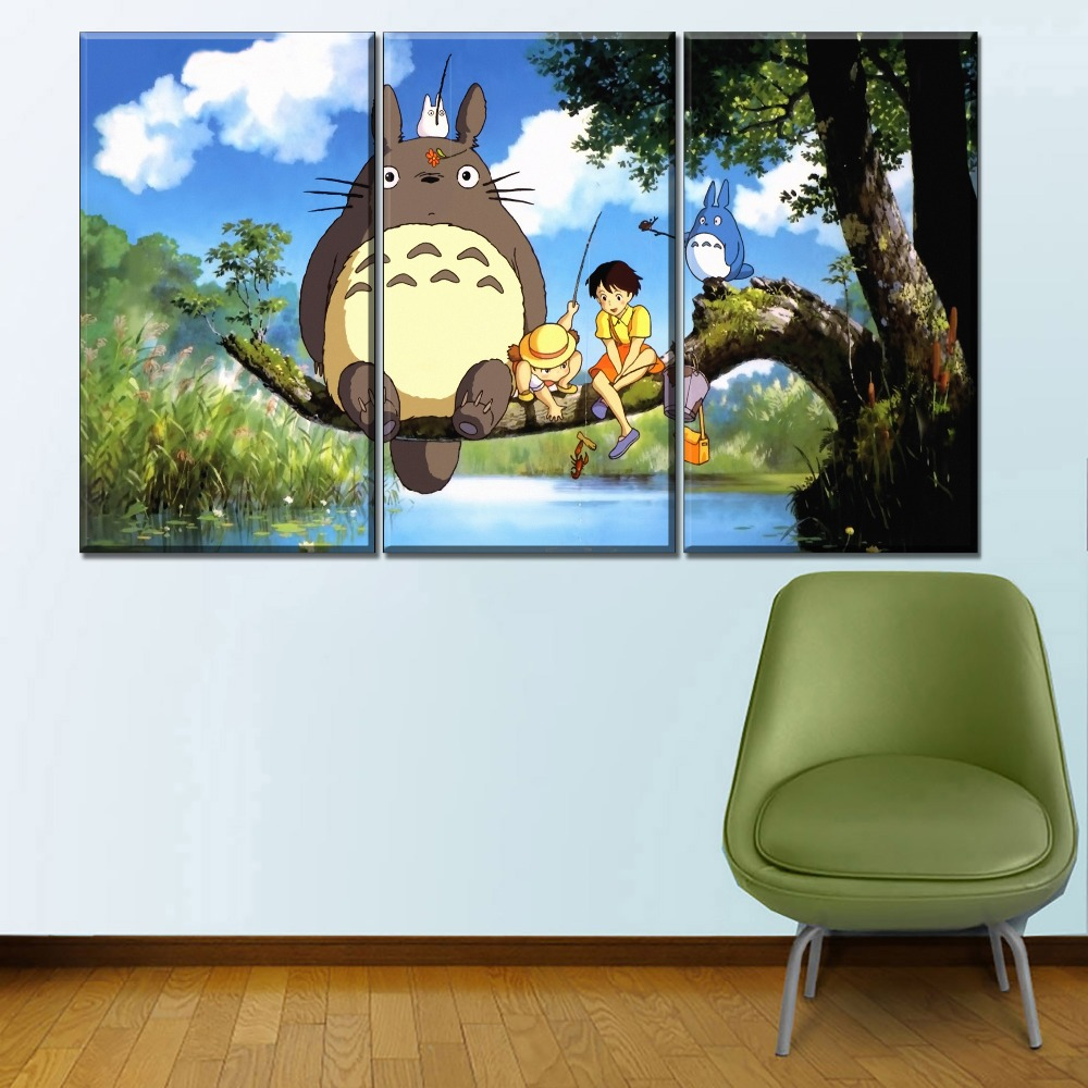 Modern Canvas HD Print Wall Art Poster Home Decor Framework 1 Pieces My Neighbor Totoro And Partner Cartoon Movie Pictures in Painting Calligraphy from Home Garden