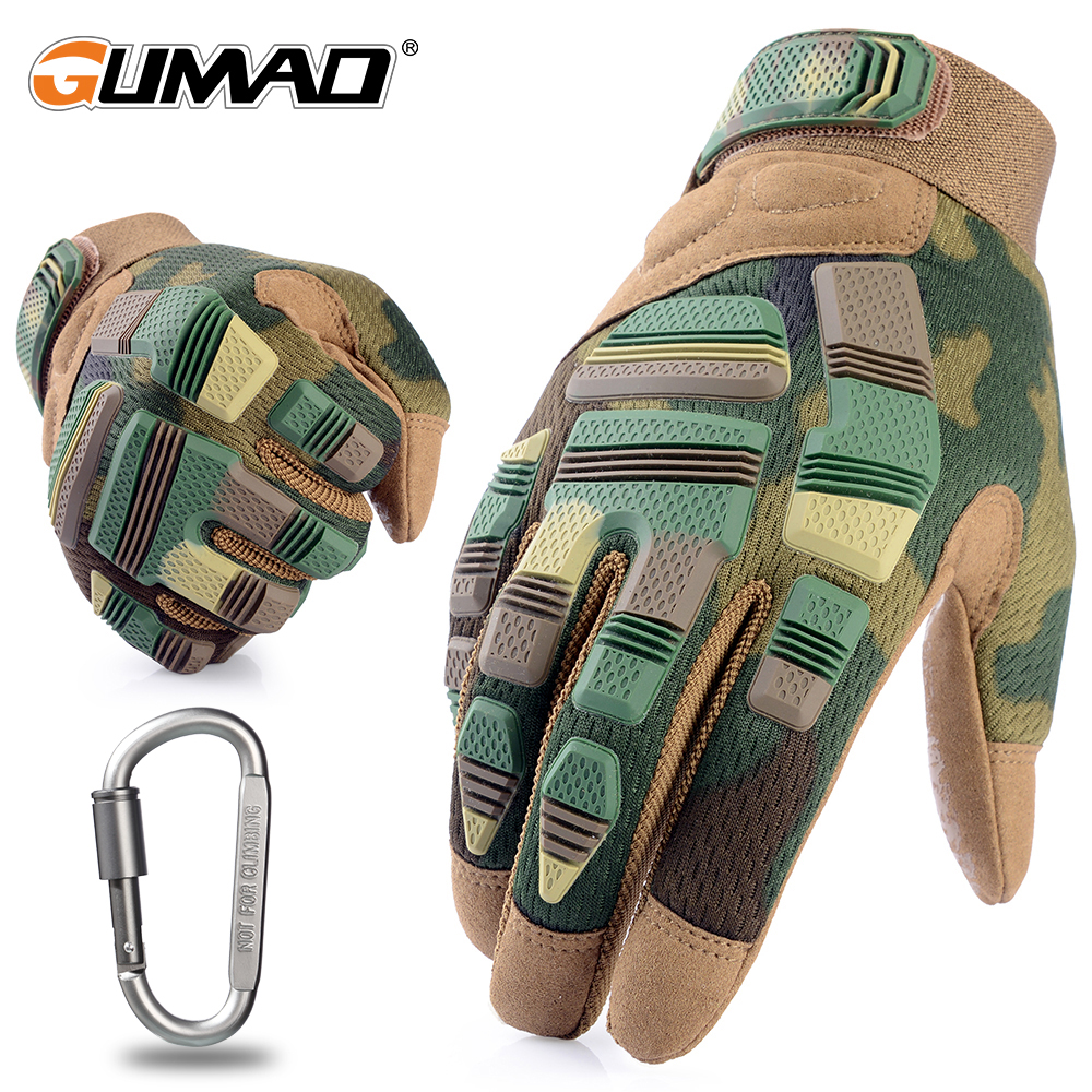 Outdoor Sport Camouflage Tactical Gloves Hiking Cycling Full Finger Guantes Military Army Airsoft Bicycle Combat Non-slip Mens