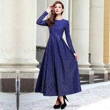 2016 nova chegada mangas compridas mulheres moda o-pescoço primavera jacquard vestidos de renda do vintage