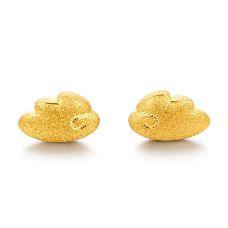 Vintage 3D 999 24 k or jaune boucles d'oreilles femmes aile boucles d'oreilles
