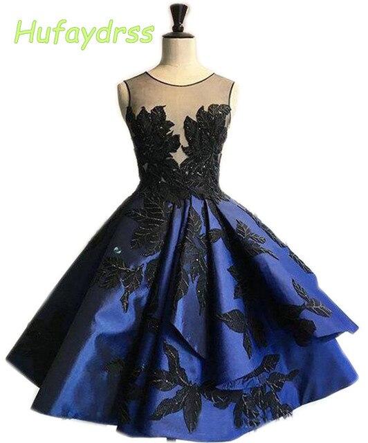 6dcb2f379 Hufaydrss Diseño Azul Real Cortos Vestidos de Noche V Volver Apliques de  Raso vestido de Bola