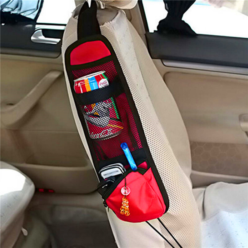 useful car interior chair seat side back multi pocket covers hanging storage net car seat bags. Black Bedroom Furniture Sets. Home Design Ideas