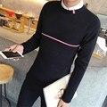 Ropa de calidad superior de los hombres suéter 2016 otoño/invierno lujo de la marca de empalme moda jerseys pullover casual tops hombres negro