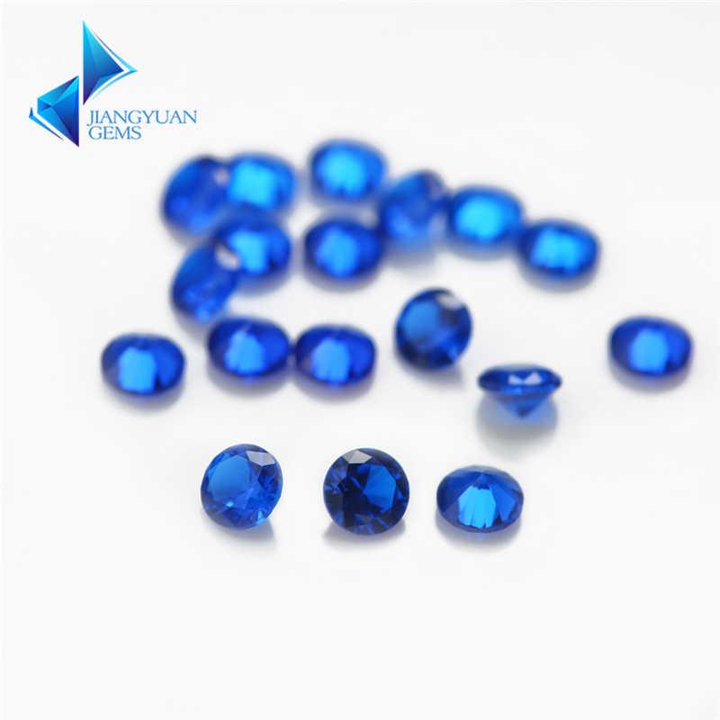 Tamaño 1mm ~ 3mm corte redondo 112 # piedra azul espinela sintética piedra azul para joyería