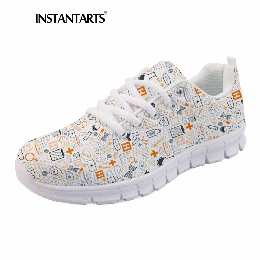 INSTANTARTS Summer Sneakers Nurse Flats Shoes 3D Cartoon Nursing Print Women Casual Lace Up Mesh Walk Sneakers Zapatillas Mujer instantarts pink sneakers women casual flats cute cartoon pediatrics bear doctor nurse pattern lady air mesh laces up flat shoes