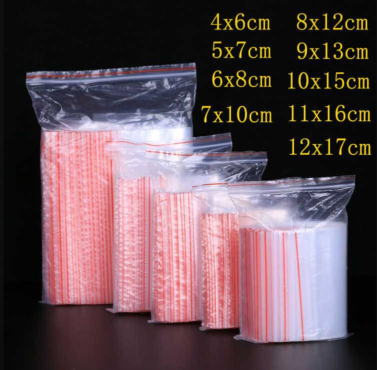 100 قطعة/الحزمة مجوهرات زيبلوك مضغوط البريدي قفل reclosable البلاستيك البولي واضح حقائب سمك 0.05 ملليمتر