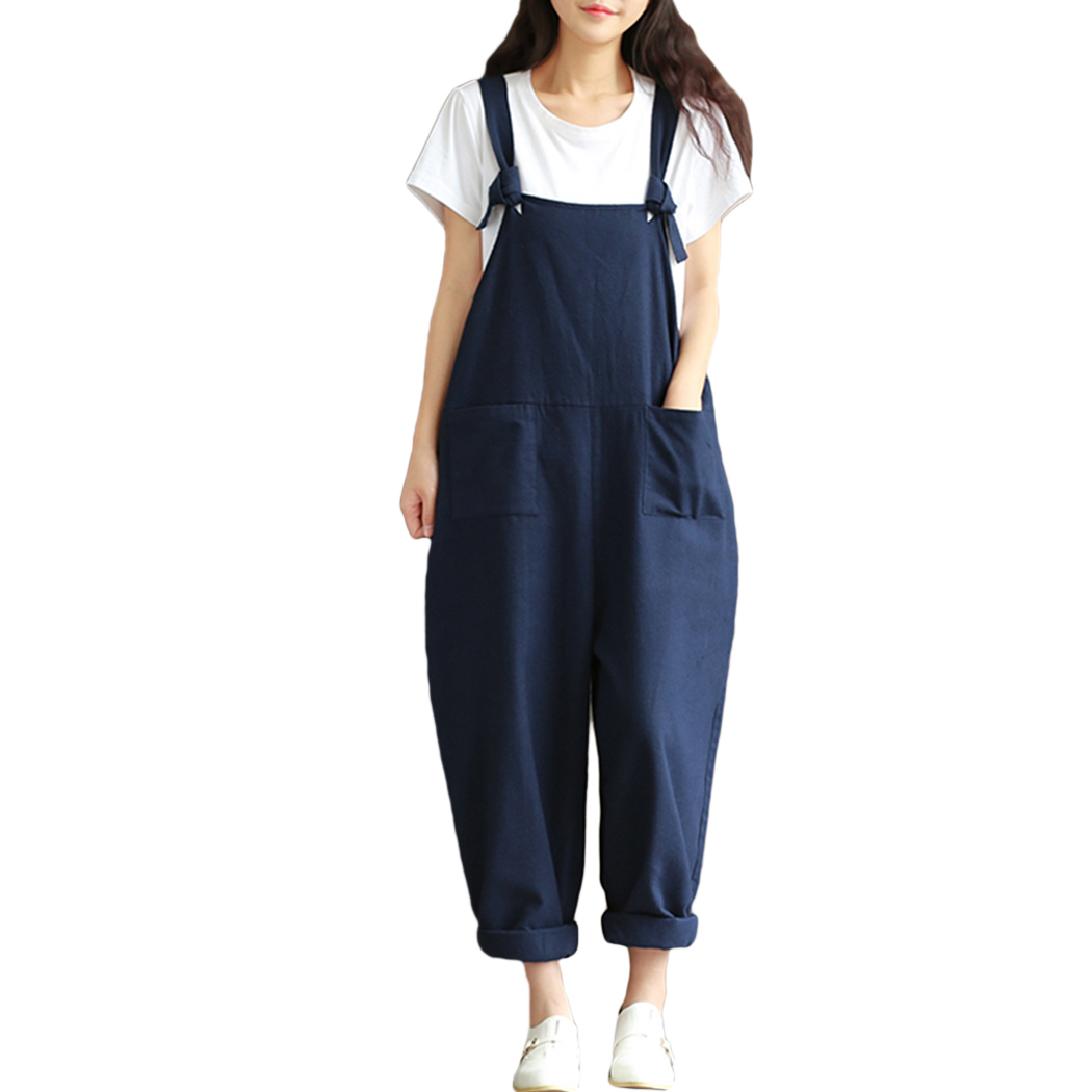 Fashion Loose Womens Sleeveless Dungaree Jumpsuits Casual Loose Harem Pants Trousers Playsuits