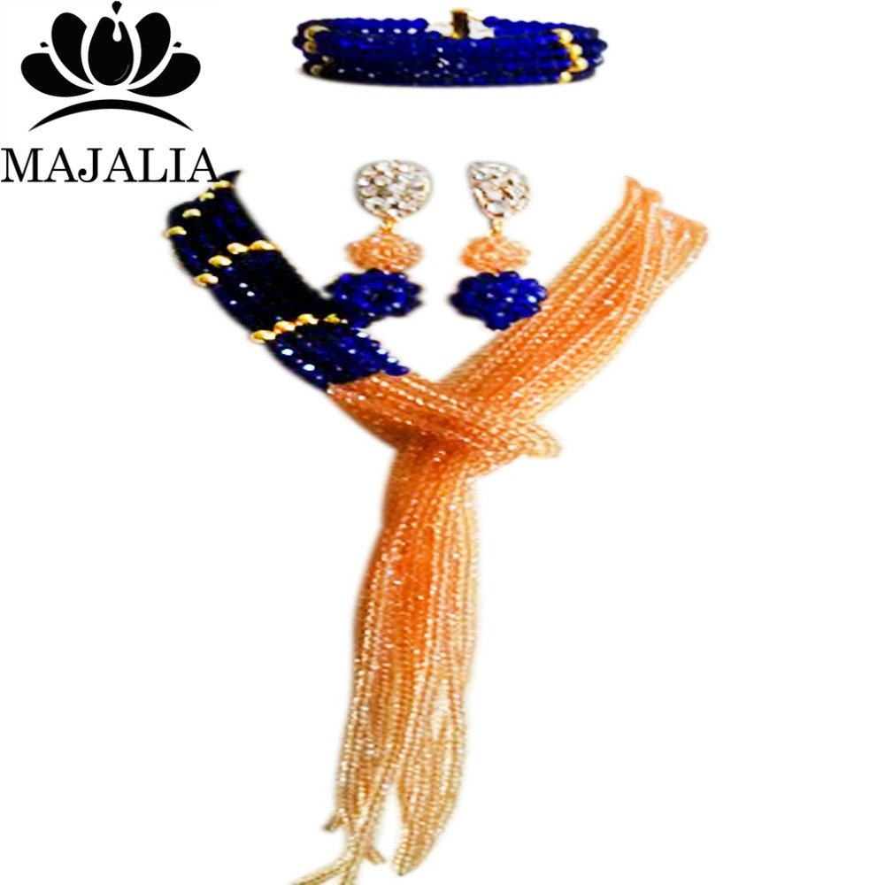 Majalia Classic Nigerian Wedding African Jewelery Set Royal blue and Gold champagne Crystal Necklace Bride Jewelry Sets 8JU012