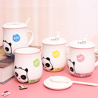 Lovely Panda Belly Cup Fashion Creative Originality Latter Animal with Lid Spoon Student Gift Home Office Drinking Gift Cup