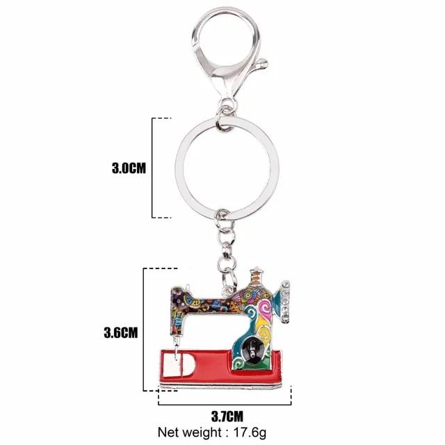 WEVENI Alloy Sewing Machine Key Chain Key Ring Handbag Decoration Charm Enamel Keychain Accessories New Trendy Jewelry For Women