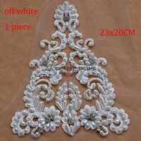 La Belleza 1 pieza Súper pesado hecho a mano de perlas blancas/Marfil apliques grandes de boda/accesorios de parche nupcial 62X20cm